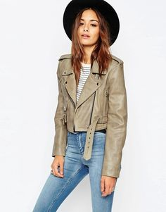 ASOS   ASOS Cropped Biker Jacket with Vintage Details in Premium Leather