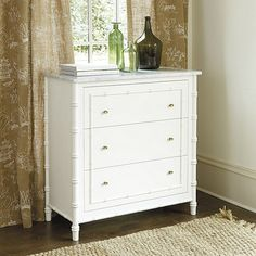"""West Indies Chest   Ballard Designs $1599 38.75 H x 37.75 W x 18.5"""" D (only comes in white with marble top)"""