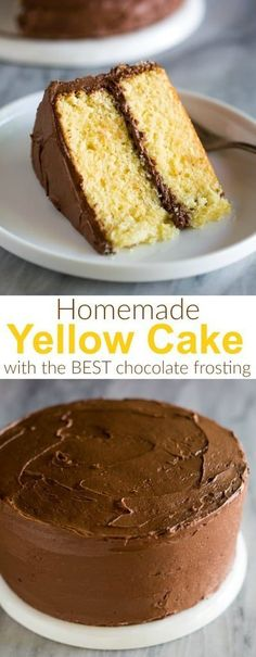 A classic Yellow Cake recipe with chocolate frosting and step by step pictures and directions for how to make cake and frosting from scratch birthdaycake yellowcake recipe homemade easy frosting chocolatefrosting via betrfromscratch Homemade Chocolate Frosting, Chocolate Cake Recipe Easy, Chocolate Recipes, Yellow Cake Chocolate Frosting, Chocolate Chocolate, Chocolate Cake From Scratch, Cake Recipes From Scratch, Easy Cake Recipes, Yellow Cake From Scratch