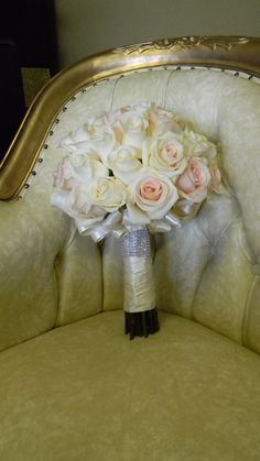 Blush and Ivory with Ribbon Lace  Bridal Bouquet by Tustin Florist