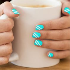 Classy Aqua Diagonal Stripes Nails Sticker