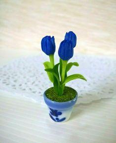 Light Pink Gloxinia Clay Flower Ceramic Pot Dollhouse Miniature Tiny Handmade