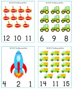 transportation cards snip Free Transportation Printable: Transportation Count & Clip Cards #1 20