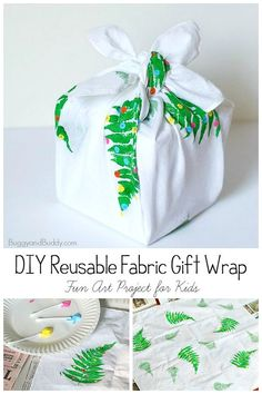 DIY Reusuable Gift Wrap- a fun art project and craft for kids of all ages! (Also known as Furoshiki, the Japanese art of wrapping with cloth.) Perfect for Christmas, holidays, and birthdays! Christmas Gift Wrapping, Christmas Gifts For Kids, Christmas Holidays, Christmas Crafts, Christmas 2019, Christmas Ideas, Xmas, Fun Crafts To Do, Easy Crafts For Kids