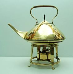 Large brass bouilloir kettle on stove design executed by Jan Eisenloeffel / the Netherlands ca.1905