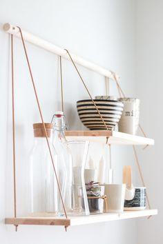 Diy Kitchen Decor, Diy Wall Decor, Diy Home Decor, Scandinavian Shelves, Scandinavian Kitchen, Organizational Design, Diy Organization, Bedroom Vintage, Diy Regal