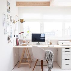 Working from home couldn't be better when you've got a home office like this! : @mydomaine #workingfromhome #homeoffice #doneanddonehome #gettingitdone