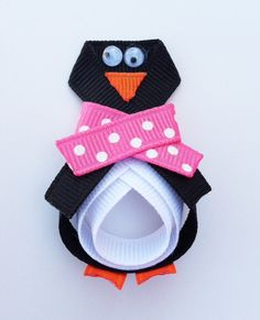 Penguin Ribbon Sculpture Hair Clip - Toddler Hair Clips - Girls Hair Accessories... Free Shipping Promo
