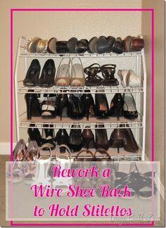 Rework a Wire Shoe Rack to Hold Stilettos