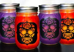 SET OF 4 Day of The Dead Sugar Skull Mason Jar Candle by hvansick, $28.00