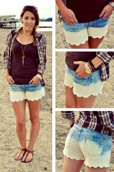 DIY Bleach Dipped Scalloped Shorts #bleach #jeans #bleachjeans