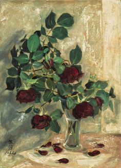 https://flic.kr/p/qcGt8Y | Le Pho (1907-2001) - LES ROSES (THE ROSES) - Oil on silk mounted on board, 46 x 33 cm