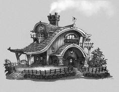 By Shaun Keenan * Coloring for adults - Kleuren voor volwassenen Fantasy House, Fantasy World, Fantasy Art, Art Sketches, Art Drawings, Inspiration Art, Modelos 3d, House Drawing, House Sketch