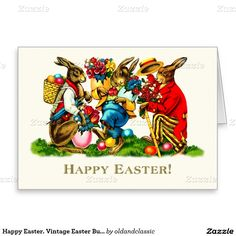 Happy Easter. Vintage Easter Bunnies Customizable Easter Greeting Cards. Matching cards in various languages, postage stamps and other products available in the Holiday / Easter Category of the oldandclassic store at zazzle.com.