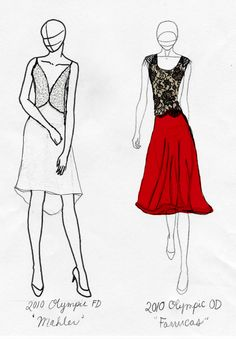 sleeping-bee:  stylishvirtue:  Costume sketches of Tessa Virtue's dresses for the 2010 Olympics. OD: Farrucas FD: Mahler  Whoever made these sketches is my personal GOD!!!  I made them! :P Thanks a lot ahaha! - Your personal God.