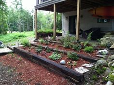 Railroad ties for tiered garden bed