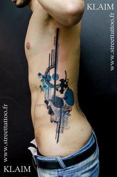 Street Tattoo - Klaim - Paris, France. Watercolour and tech.