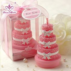 Find More Party Favors Information about Pink rose flower 3 layer cake candles…