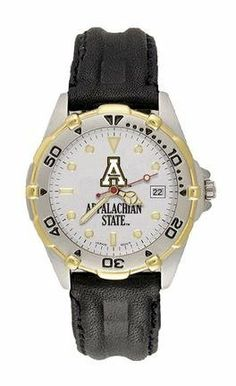 Appalachian State Mountaineers ASU NCAA All Star Mens Leather Strap Watch Logo Art. $87.72. Two-tone stainless steel bracelet or ribbed leather strap with steel stainless buckle. Brushed chrome finish brass case, two-tone rotating top ring and screw-down back. Miyota quartz movement with date (#377 battery). Silver dial with raised luminous hour indexes with mineral crystal. Water resistant sport watch