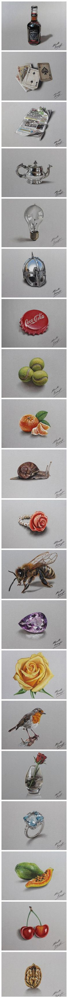 realistic colored pencil drawings by Marcello Barenghi.