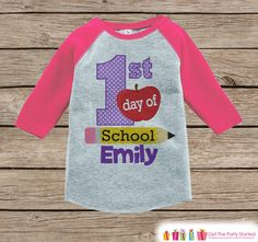 This adorable outfit is perfect for your child's first day of school! - Please include the name you would like in the Notes to Seller box during the checkout process. Our graphics are professionally p