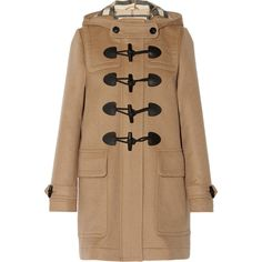 Burberry Brit Hooded wool-felt duffle coat (€830) ❤ liked on Polyvore featuring outerwear, coats, jackets, coats & jackets, burberry, camel, felt coat, camel wool coat, duffle coat and wool coat
