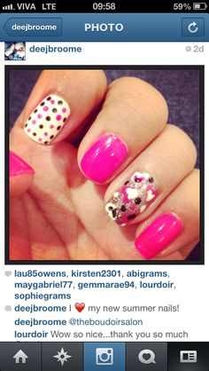 Summer nails...love the polka dots!!