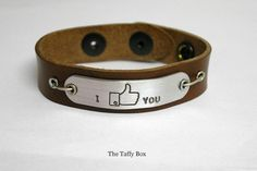 """Facebook """"like"""" Bracelet in leather or chain"""