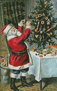 Santa Decorating Tree - Christmas cross stitch pattern designed by Tereena Clarke. Category: Santa.