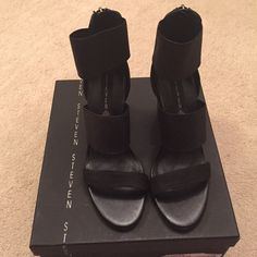Steven by Steve Madden black heels size 7 New with box. Size 7. Made of leather and fabric. Silver hardware zipper in the back. About 3.5 inches high. Steven by Steve Madden Shoes Heels