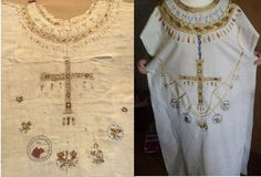 Tunic of Balthild, Chemise de Sainte-Balthilde, Chasuble de Chelles from the reliquary of Queen Balthild, died c.680. Linen with silk embroidery, Reko Linen with silk an Goldlahn