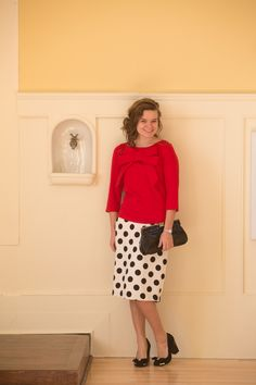 Dainty Jewell's Original Pencil Skirt (Black/Cream) with our Signature Bow top | Modest fashion - Bridesmaid - Modest apparel - Ruffles - Lace - Bows - Polka-dot | www.daintyjewells.com