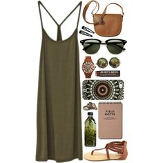 olive tones & angry lovers by ohkaaty on Polyvore featuring Charlotte Russe, Merona, Betsey Johnson, DANNIJO, Ray-Ban, Clips and Burt's Bees