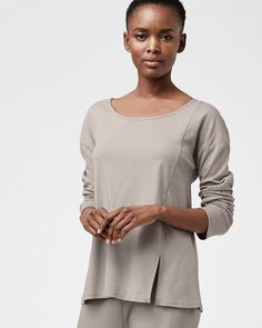 1e2536d622 Details about Eileen Fisher Long-Sleeve Vented Sleepwear Pajama Top Oyster  Gray Large NWT $88