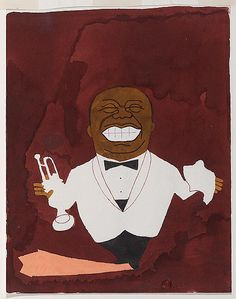 Makoto Wada, Louis Armstrong  Ink and watercolor on paper, 1971