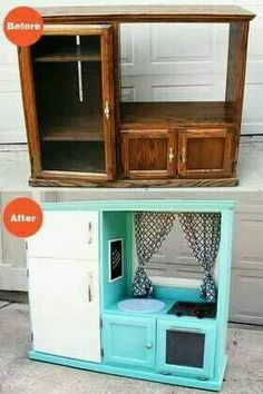 Entertainment center into kid kitchen