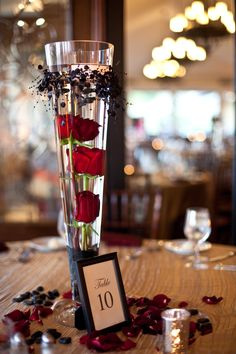 Submerged red roses as a centerpiece