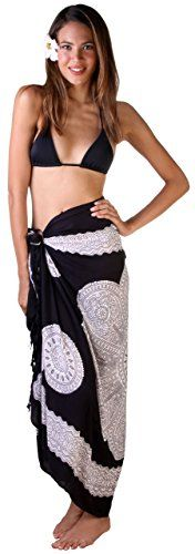 4c65fcc604 Sarong Bathing suit coverup in mandala print decorated with sparkly sequins.  Beading catches the light