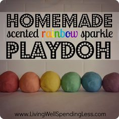 Homemade Scented Rainbow Sparkle Playdoh Recipe--great tutorial for the best homemade playdoh! #homemade #playdoh #recipe