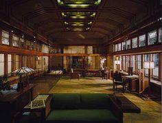 ミネソタ州、wayzat のリビングルーム、Frank Lloyd Wright