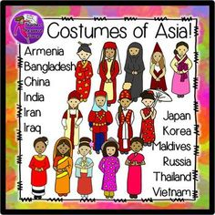 Costumes of Asia - Traditional Costume Clip Art (Color & Black line). A comprehensive cultural clip art collection of the girls of Asia in traditional costume.