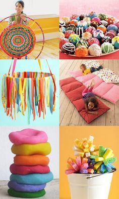 Super-cute Summer Crafts...cakeballs, ribbon mobile, sleepover bed, splash balls, weave a loom...