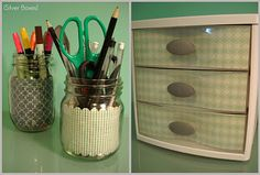DIY - scrapbook paper used to give plastic organizers a decorative look