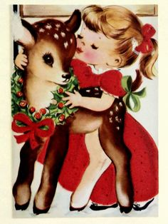 Christmas card ~ little girl adorns her fawn friend with a wreath