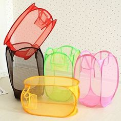 [Visit to Buy] Candy Color Nylon Mesh Fabric Foldable Large Laundry Basket Household Dirty Clothes Bag Washing Child Toy Storage Organization Laundry Basket Sorter, Folding Laundry Basket, Large Laundry Basket, Laundry Baskets, Kid Toy Storage, Storage Baskets, Storage Organization, Cheap Baskets, Le Shop