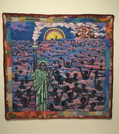 """baloji:  """" Faith Ringgold  """"The American collection: we came to America""""  Acrylic on canvas.  The color line X Musee quai Branly  #blackamerica #colorline #blackness (à Musée du quai Branly - Jacques Chirac)  """""""