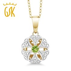 Genuine 925 Sterling Silver With 18K Yellow Gold Plated Green Gemstone Peridot Flower Necklace & Pendant Gem Stone King #Affiliate