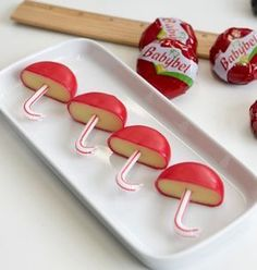 cute party appetizers babybel umbrellas i would put pretzels to make . - cute party appetizers babybel umbrellas i would put pretzels to make mushrooms Snacks Für Party, Appetizers For Party, Appetizer Ideas, Party Fingerfood, Baby Shower Appetizers, Simple Appetizers, Seafood Appetizers, Cheese Appetizers, Cute Food