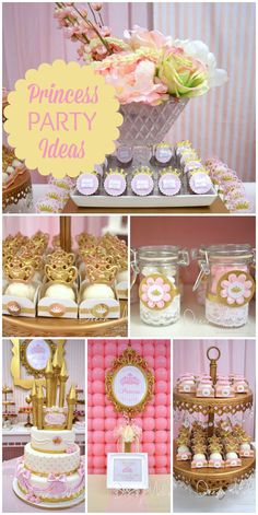 A fairy tale storybook princess birthday in pink, white and gold with a balloon backdrop and gorgeous decorations! See more party planning ideas at CatchMyParty.com!