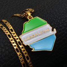 GiftJewelryShop Bronze Retro Style Sierra Leone Flag Heart Shaped Pendant Charm Necklaces